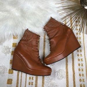 Opening Ceremony Lace Up Brown Wedge Boot Size 38